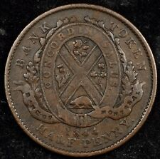 CANADA TOKEN NIGHT! NICE 1844 HALF PENNY BANK OF MONTREAL TOKEN. BRETON #527 /1