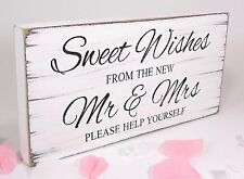 Free Standing Vintage Wedding Table Sign - Shabby but Chic - Sweet Wishes