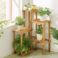 Wall Corner Multilayer Pine Wood Plant Stand Flower Shelf Rack Home Garden Decor