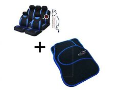 9 PCE Sports Carnaby Blue/ Black CAR Seat Covers + Matching Mat Set All Fiat