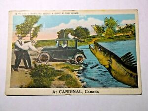 1938  Fishing Postcard Cardinal Canada Posted CAN Old Ford Giant Fish