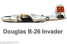 "Model Airplane Plans (UC): DOUGLAS B-26 INVADER Bomber 1/16 Scale 52"" for .29s"