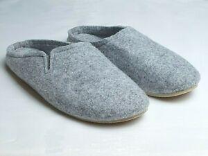 Womens Ladies Slippers Real Wool Slip On Mules Grey Lightweight  Felt Warm UK