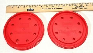 2 LARGE TINKERTOY RED ROUND CIRCLE BASES FACE BASEPLATES REPLACEMENT PIECES