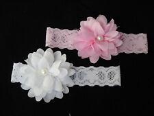 Haarband Stirnband Haarschmuck Baby Kopfband Blume rund Perle weiß rosa