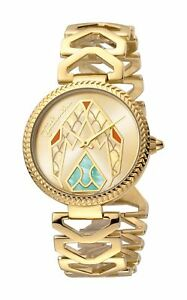 Just Cavalli Women's Magnifica Watch JC1L045L0065 Gold IP Steel Link Bracelet