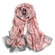100% Pure Wool Woman's Pashmina Scarf Soft Wrap Pink With Light Grey Flower