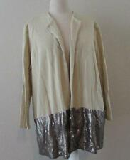 MISOOK womens plus 2X tan khaki sequins open front sweater jacket $498 NEW