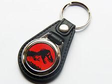 JURASSIC PARK Dinosaur Film Movie Premium Leather & Chrome Keyring