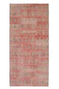 4.7 x 9.9 Ft. Vintage Handmade Muted Color Foyer Turkish Oushak Wool Rug Runner