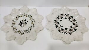 Two Large Indian Marble Inlay Plate 12″ Inches