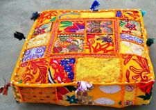 Indian Patchwork Large Floor Ottoman Pouf Cushion Pillow Cover Square Pet Yellow
