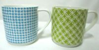 Waitrose Set Pair Stacking Stack-able Coffee Cup Mugs green & blue Geometric