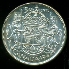 """1943 King George VI, Silver Fifty Cent Piece,  Far """"3""""  I23"""