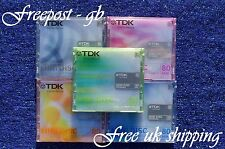 5 x TDK BLANK MINI DISCS - 80 MINUTES MD RECORDABLE  - BRAND NEW - WITH CASES