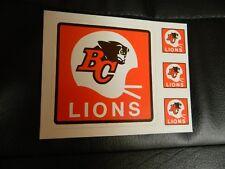 1980 BC Lions sticker White Helmet CFL classic set of 4 stickers