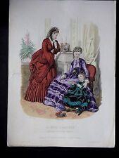 GRAVURE  MODE 19e - MODE ILLUSTREE 1870 - TOILETTES BREANT - GRAND FORMAT
