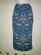 SIZE 10 FLORAL PENCIL/TUBE SKIRT  PURPLE/TURQUOISE NEW