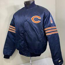 Vintage Starter Jacket Chicago Bears Satin Button 80s 90s NFL Team Coat Large
