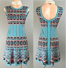 HERVE LEGER Multi color Body Con Flared Dress Blue/Pink Mini length Cocktail S
