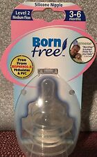 Born Free 2 Wide-Neck Silicone Nipples Level 2 Medium Flow 3-6 Mons Discontinued