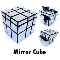 Brushed Silver Metallic Sticker Mirror Block 3x3x3 Magic Cube Twist Puzzle Black