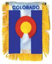 "Colorado Mini Banner Flag 4 x 6"" with Brass Staff & Suction Cup - New"