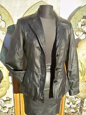 AVANTI BLACK GENUINE LEATHER JACKET COAT SOFT LAMBSKIN HOURGLASS VINTAGE?
