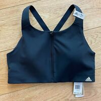 Adidas Womens Ultimate Sports Bra 38C Black Racerback High Impact Front Zip New