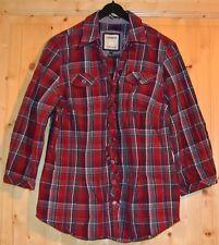 LERROS Bluse Rot-Blau-Kariert Gr. 36 Rüschen hinten Bindeband 100% Baumwolle