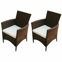 vidaXL 2x Garden Chairs Poly Rattan Wicker Brown Patio Outdoor Furniture Seat