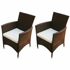 vidaXL 2x Garden Chairs Poly Rattan Wicker Brown Patio Outdoor Furniture Seat