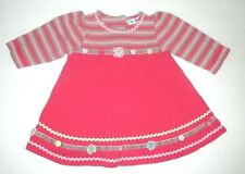 INFANT GIRLS LE TOP PINK THERMAL STRIPED FLORAL APPLIQUE FLARE DRESS SIZE 3 MON