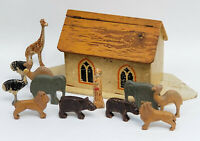 LARGE 19c. ANTIQUE WOOD TOY NOAH'S ARK TOY with 12 FIGURES