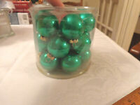 Christmas 18 green balls small feather tree ornament shiny Color Works Roman Inc