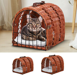 Wicker Cat Basket Kitten Pussy Bed Portable w/ Soft Mat Handle Lightweight