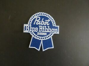 """PABST BLUE RIBBON BEER"""" BLUE & WHITE  Embroidered 2-3/4 x 3 Iron On Patch"""
