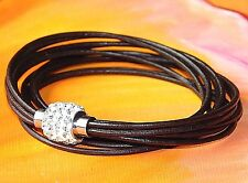 Ladies brown leather and stainless steel double wrap bracelet by Lyme Bay Art