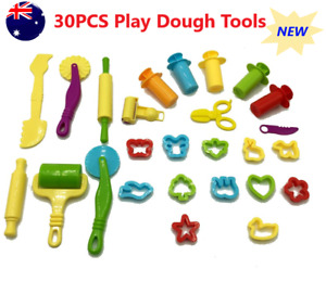 30x Dough Tools Play Set Modelling Doh Clay Craft Rolling Pins Cookie Cutters AU