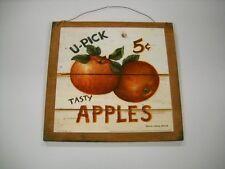 U-pick Tasty Apples Wooden Kitchen Wall Art Sign Fruit fall wood Decor