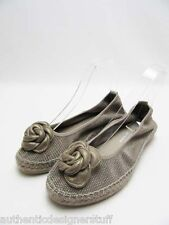 Auth ANDRE ASSOUS Cleo Espadrille Flat Shoes, Pewter, Size 7