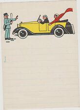 papier a lettre enfant-/en-tête couple ds une vielle osmobile arrêtée par agent