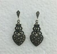 Vintage Art Deco Revival Sterling Silver Marcasites Heart Dangle Earrings Posts