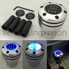 JDM Manual Transmission BLUE LED Light Silver Sport Gear Stick #u4 Shift Knob
