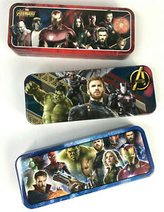 """Collectible Marvel Avengers Pencil Marker Sticker 8"""" Tin Metal Case for Kids"""