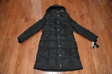 NWT London Fog Womens Faux-Fur Hooded Quilted Down Puffer Coat Jacket M Black