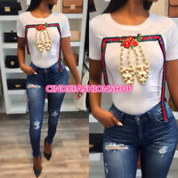 USA Fashion Women Short Sleeve Beading Embroidery Patchwork  T-Shirt Casual
