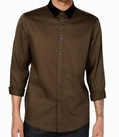 INC Mens Brown Size Small S Button Down Velvet Collar Long-Sleeve Shirt $69 066