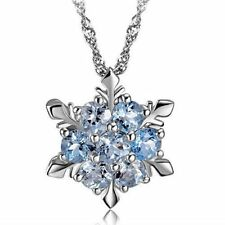 Fashion Silver Blue Crystal Snowflake Frozen Flower Silver Necklace Pendant New