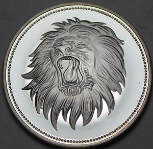 Yemen 2 Rials, 1969 Cameo Silver Proof~RARE~4,200 Minted~Roaring Lion~Free Ship